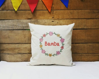 Personalized Floral Wreath Pillowcase, Bridesmaid Pillowcase, Bride Pillowcase, Wedding Pillowcase