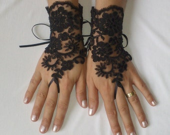 Black or ivory Wedding Gloves, Wedding, Bridal Gloves, Fingerless Gloves, Ivory, Wedding accessories