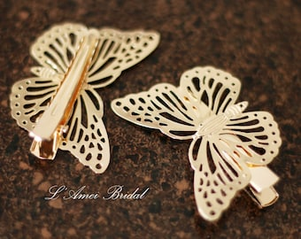 Golden Butterfly Hair Pin Accessory Great for Wedding, Bridal Piece or Everyday Use., Butterfly hair pin