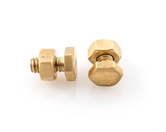 Nut and Bolt Cufflinks. In Sterling Silver and 18k gold