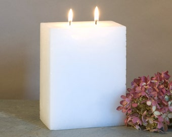 White Pillar Candle Two Wick - Multi Wick Candle