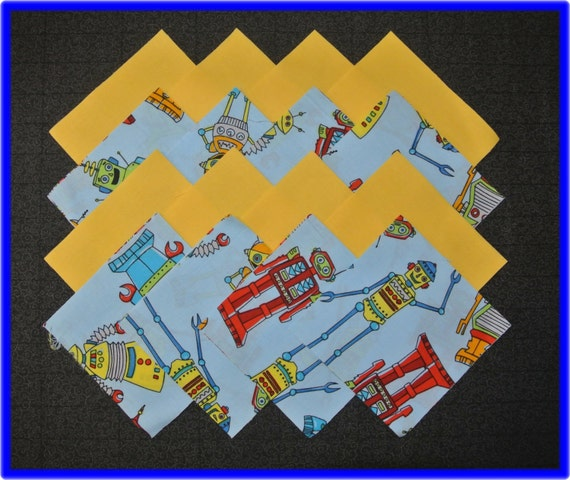 Items similar to 32 robot fabric squares quilting for Robot quilt fabric
