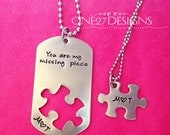 Couples puzzle dog tag set You are my missing piece with initals anniversary gift