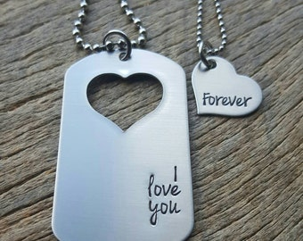 Customizable Couples Necklace Set I Love You Forever Hand Stamped Dog Tag and Heart Necklace Set His and Hers  Military Spouse Anniversary