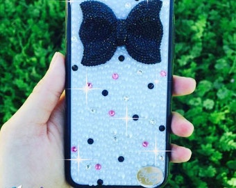 READY TO SHIP Pink, Black, and White Bow Case