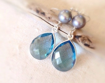 Ocean blue Topaz and fresh water Pearl earrings, Hawaii Jewelry, Made on Maui