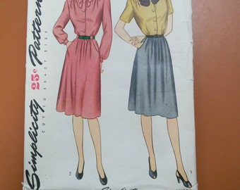 Simplicity 1406 Dress Bow Blouse Skirt One Piece Vintage Sewing Pattern 1940s 40s Size 14