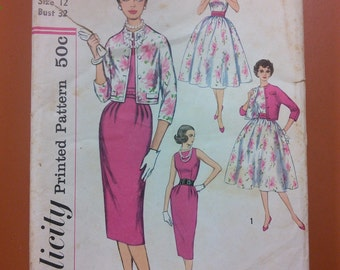Simplicity 2407 Classic 50s Dress Full & Slim Skirt Dress Jacket Vintage Sewing Pattern 1950s 50s Size 12
