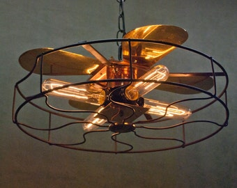 Chandelier, Industrial Fan Cage Lamp, Upcycled & Recycled