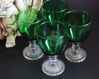Vintage, Set of Four Burple Boopie Forest Green Glasses