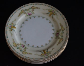 Vintage, Set of Six Meita China Laurel Dessert Plates