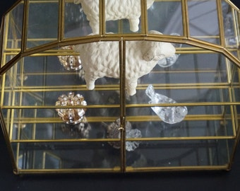 Vintage, Glass Mirrored Curio Cabinet