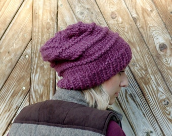 Chunky Wool Blend Knit Slouchy Hat - Heritage Hat