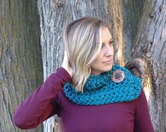 READY TO SHIP: Chunky Crochet Short Cowl Scarf with Big Wood Button - Wool Blend Short Scarf for Women in Thunder Blue #EtsyGifts