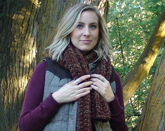 READY TO SHIP: Hand Knit Extra Long Chunky Wool Blend Ribbed Scarf in Mesquite