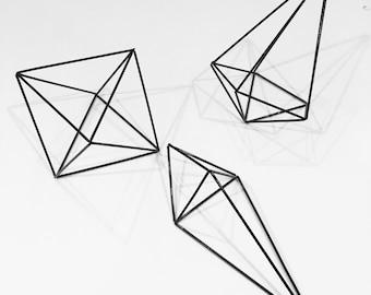 Set of 3 black himmeli, geometric shapes