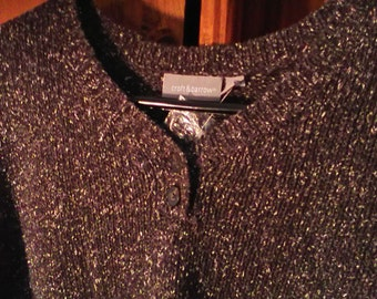 NWT Croft And Barrow Womens V Neck With Two Buttons Brown Tweed Sweater Size XL