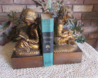Vintage Girl and Boy Bookends Children Ready Books.