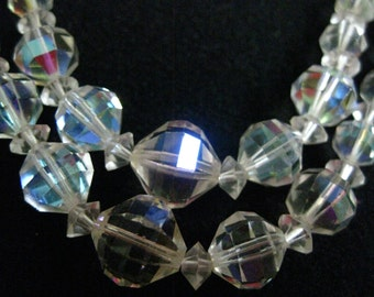 Wedding Evening Necklace Aurora Borealis Crystal Lots of Sparkle Double Strand Faceted Graduated A R Crystal Beads Vintage Estate Jewelry