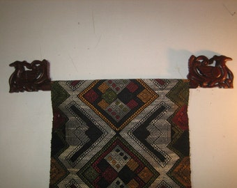 Hand Carved wooden Ikat Hanger from Lombok
