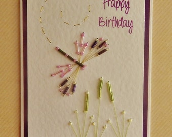 Handmade Beaded Dragonfly Birthday Card