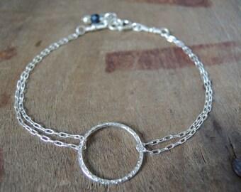 Dainty Sterling Silver Ring Bracelet, Layering Bracelet, Minimalist Silver Bracelet, Layering Ring Bracelet, Delicate Silver Bracelet