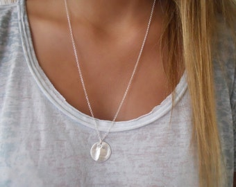 Hammered Coin Long Necklace. Layering Silver Necklace. Sterling Silver Necklace. Coin Necklace
