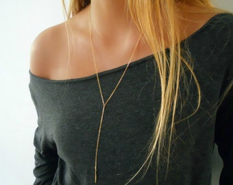 Long Gold Lariat Necklace, Minimal Y Necklace, Long Gold Y necklace, Gold Lariat Necklace, Layering Necklace,  Y Necklace, Drop Necklace,