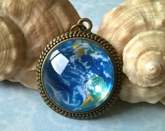 Earth necklace, bronze necklace, nature necklace, bronze pendant, glass dome pendant, Earth medallion, brass necklace