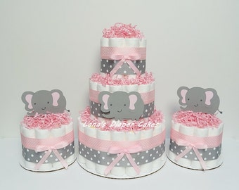 3 Tier Pink & Gray Elephant Diaper Cake Baby Shower Centerpiece