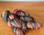 "Hand-Dyed Sock Yarn ""Garland"" Merino Wool Nylon Variegated 4 Ply Fingering Weight Yarn"