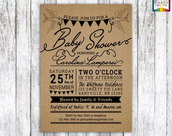 Kraft Paper Swallows and banner Baby Shower Invite - Gender Neutral Personalized - Digital Printable Invitation 4x6 / 5x7 jpg / pdf