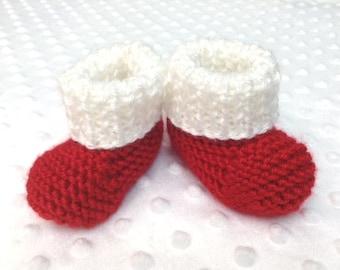 Santa Baby Booties - Christmas Baby Booties - Santa Newborn Booties - Santa Baby Slippers - Santa Baby Photo Prop