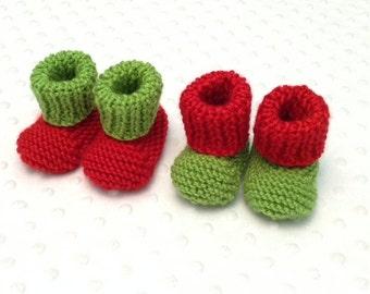 Twin Christmas Booties - Twin Pregnancy Announcement - Twin Elf Booties - Twin Elf Shoes  - Newborn Christmas Photo Prop