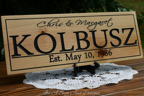 Thirty Year Wedding Anniversary Traditional Gift: 30 Year Anniversary Gift Family Name Signs Last Name Sign