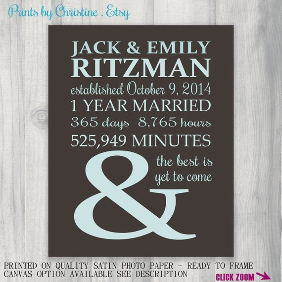 Year Anniversary Gift Idea 1st Wedding Anniversary Gift Personalized ...