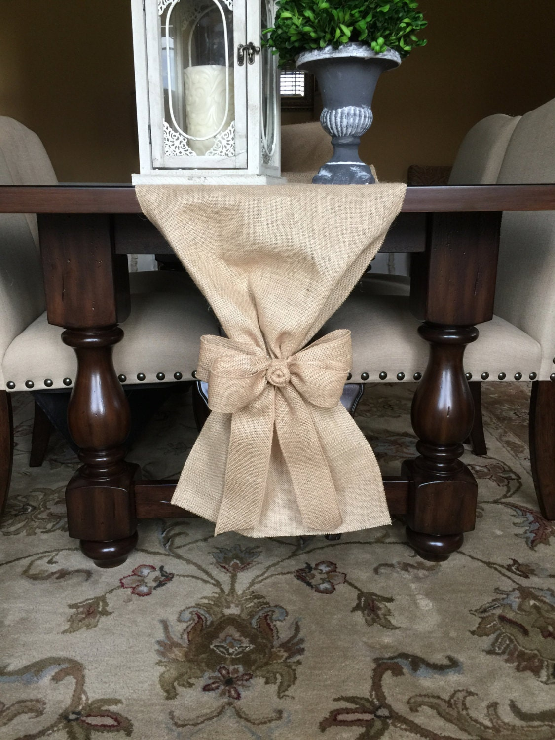 Burlap table runner with detachable bow fall table runner for 102 table runner