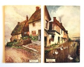 "2 Vintage Tuck ""Oilette"" Postcards, Cornish Villages; Cadgwith & Coverack. England. Victorian, Un-posted."