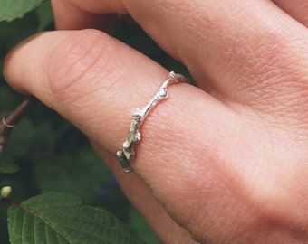 Sterling silver twig ring, sterling silver ring - stacking ring, gardeners gift, Valentine's Day gift