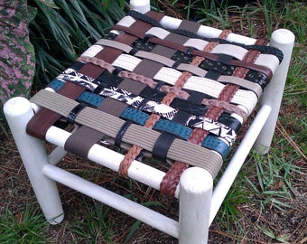 Stool,Foot Stool,White Stool,Belt stool,Unique stool,Annie Sloan Fabric painted furniture, Bohemian,Woven Belt Seat