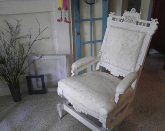 Upholstered White Shabby Chic Antique Rocking chair, Charles Eastlake, late 19th or early 20th century rocker