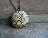 Gypsy * Print locket necklace / keepsake / boho stocking stuffer