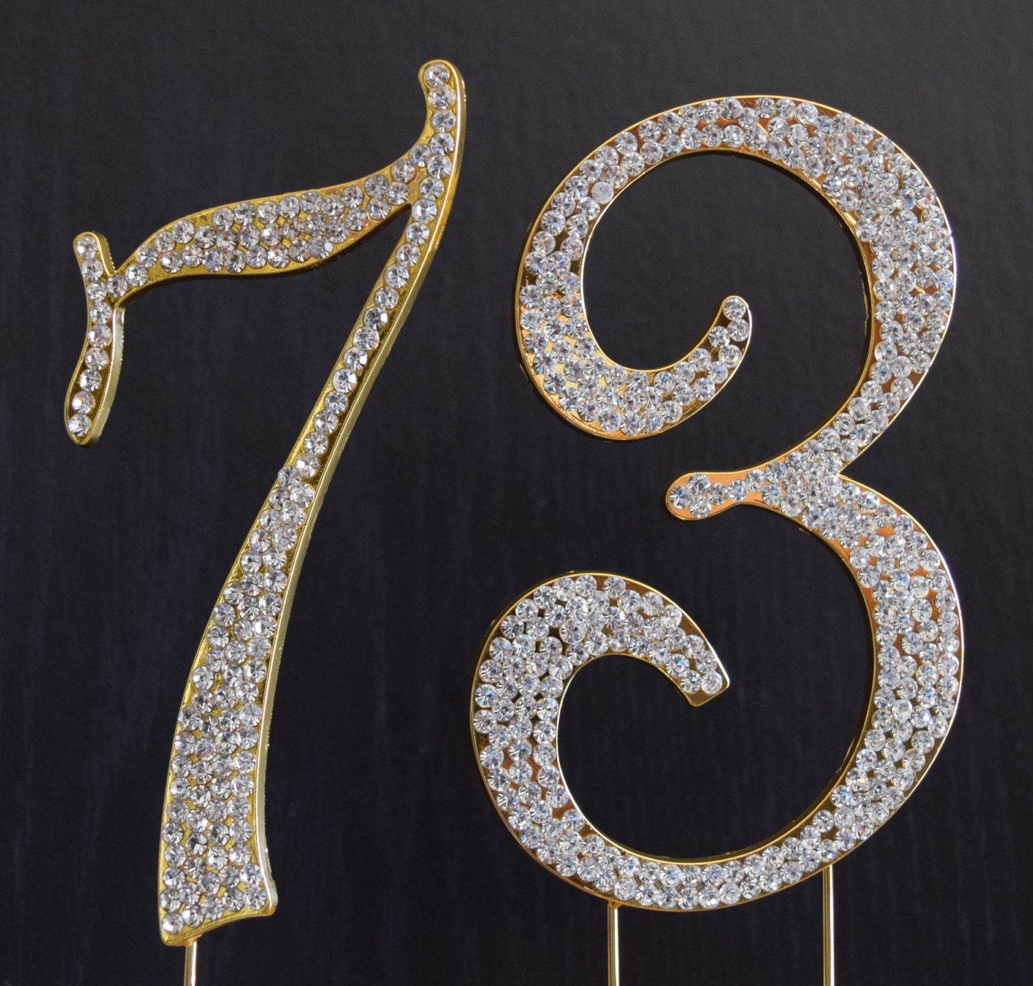 New Large Rhinestone Number 73 Cake Topper 73rd Birthday