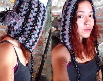 Hood Hat with pom poms.