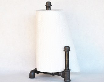 industrial paper towel holder with guard pipe farmhouse industrial decor kitchen decor