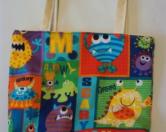 CHILDREN'S TOTES, MONSTERS, cotton, 9x11, book bag, toy bag, overnight travel bag, canvas lining, primary colors,