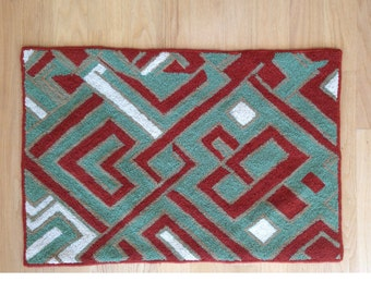 "Hand hooked area rug or wall hanging, ""BaKuba"""
