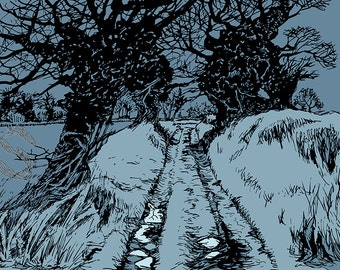 Winter path, walk, gift for country lover, gift for walker, gift for art lover, art print, landscape, pen and ink, Worcestershire, winter