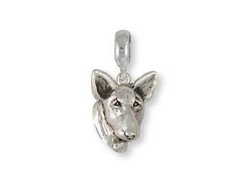 Bull Terrier Charm For Slide Bracelet Handmade Sterling Silver Dog Jewelry BU10-PNS