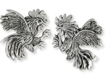 Handmade Fighting Rooster Cufflinks Jewelry Sterling Silver   HM-RST3-CL